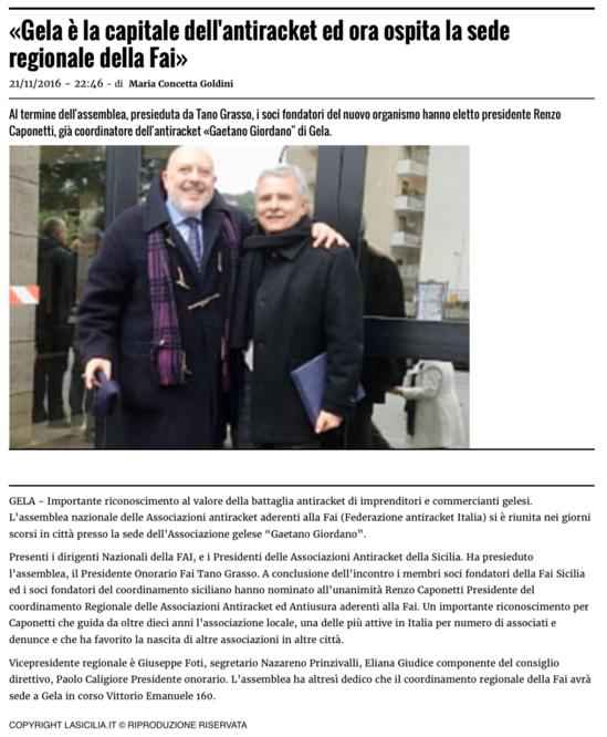 Articolo de 'La Sicilia'